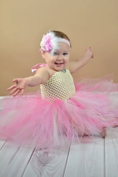 Buy Girls Fancy Ivory and Pink Tutu Dress Online