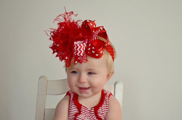 Buy Red Valentine Hair Bow or Baby Headbands Hearts Online