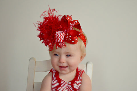 Red Valentine Hair Bow or Baby Headbands Hearts