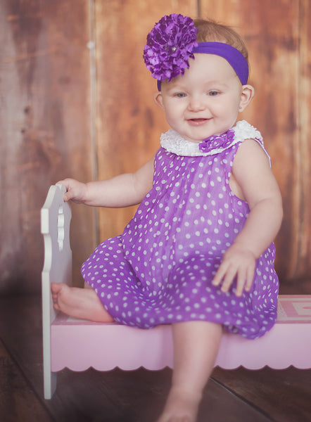 Purple Lace Flower Baby Girl Headband, Purple Baby Headband Flower