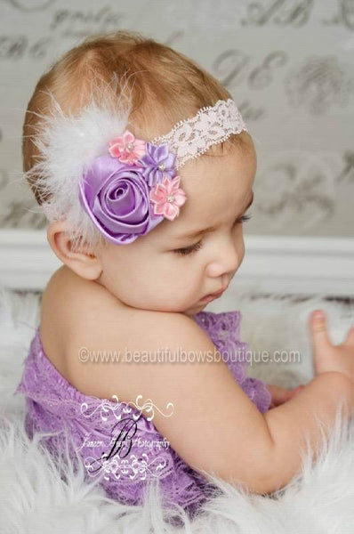 Buy Vintage Lavender and Pink Satin Rose Baby Girls Headband or Hair Clip Online
