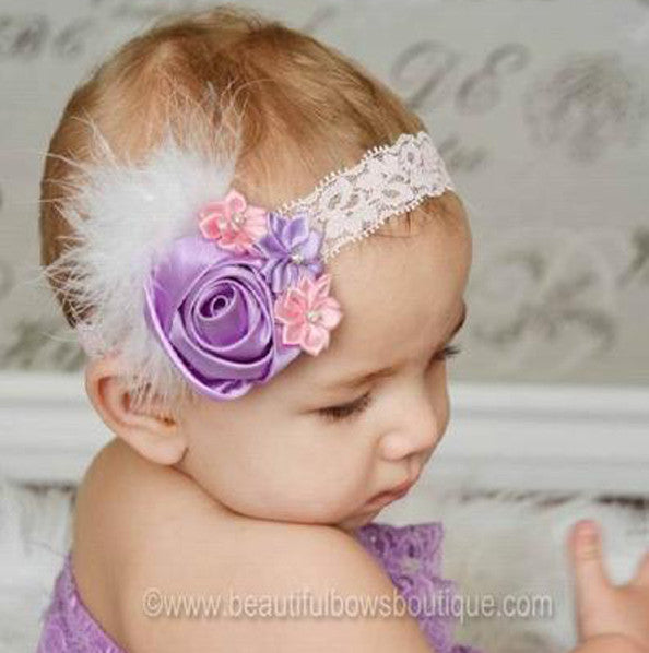 Vintage Lavender and Pink Satin Rose Baby Girls Headband or Hair Clip