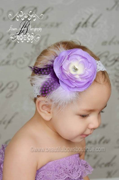 Vintage Lavender Light Purple Sadie White Feather Flower Clip or Girls Lace Headband