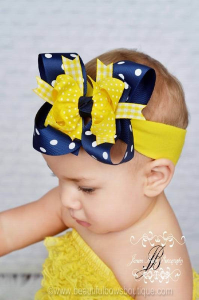 Buy Yellow and Navy Blue Polka Dot Girls Hair Bow Clip or Headband-Pacers Wolverines Online