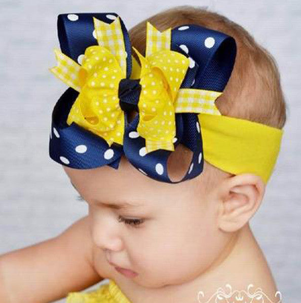 Yellow and Navy Blue Polka Dot Girls Hair Bow Clip or Headband-Pacers Wolverines