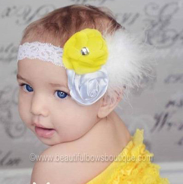 Vintage Bright Yellow White Rosettes Madison Shabby Flower White Feather Girls Lace Headband
