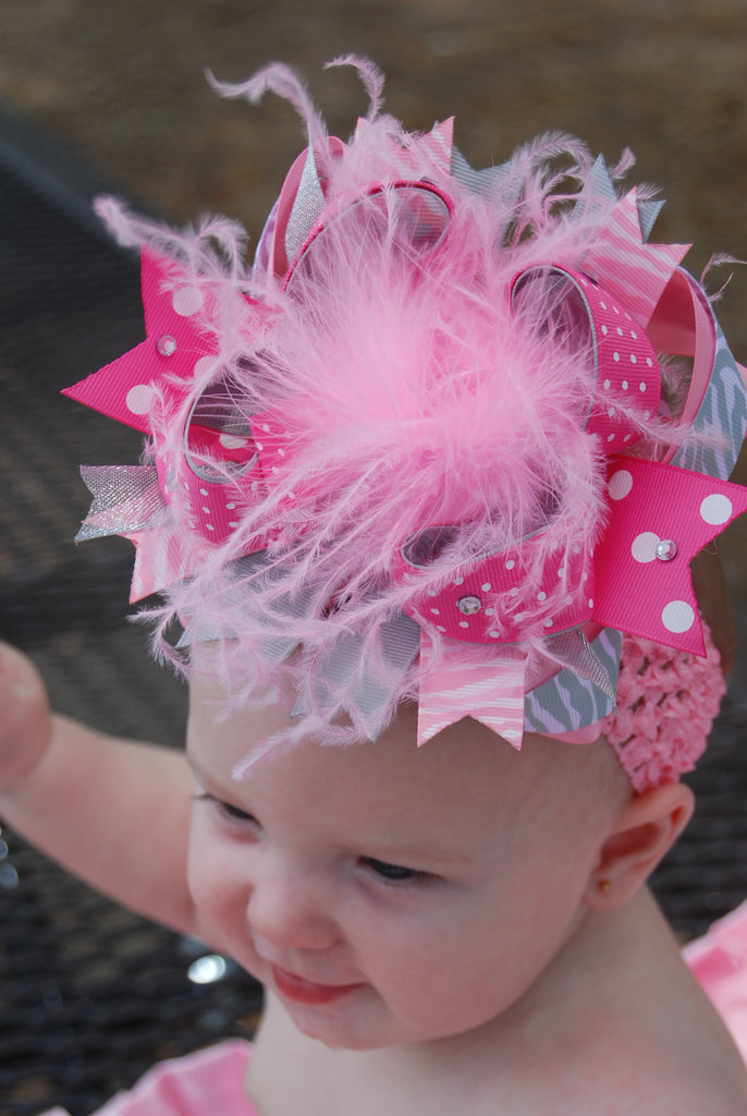 Over the Top Light Pink Grey Girls Big Hair Bow Clip or Headband
