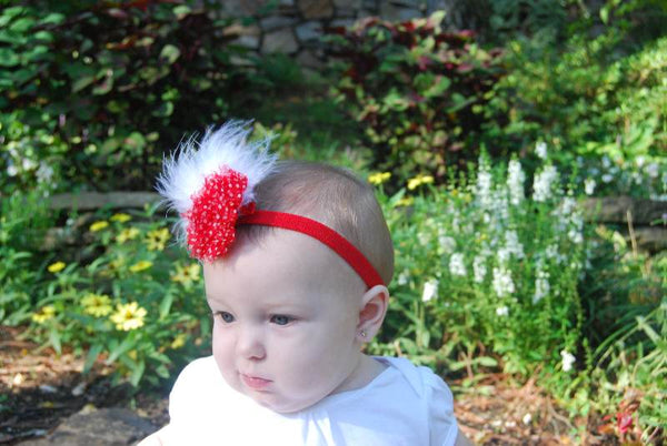 Vintage Chiffon Shabby Flower Red White Dot Fluff Feather Clip Girls Thin Headband