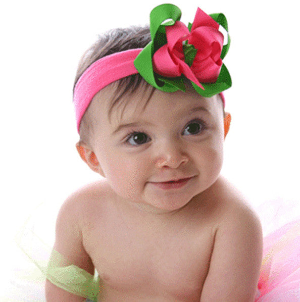 Dainty Lime & Hot Pink Girls Hair Bow Clip or Headband