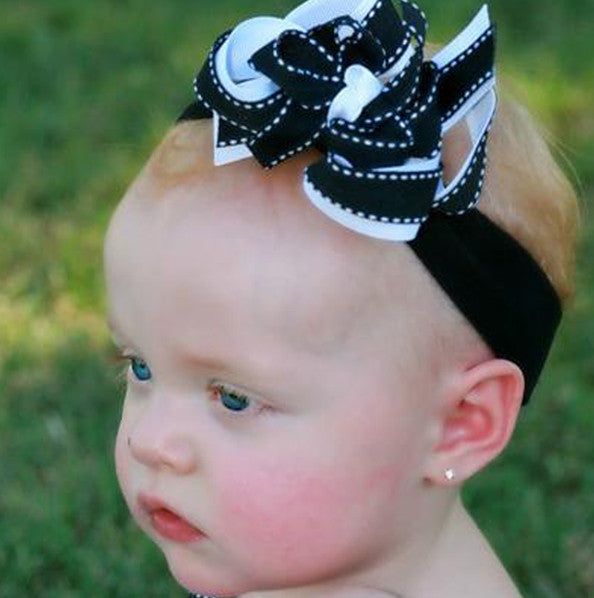 Dainty Black & White Girls Hair Bow Clip or Headband