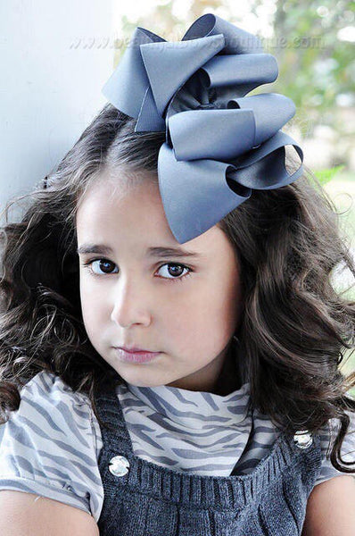 Extra Large Grey Hair Bow, Grey Hair Bow Texas Size