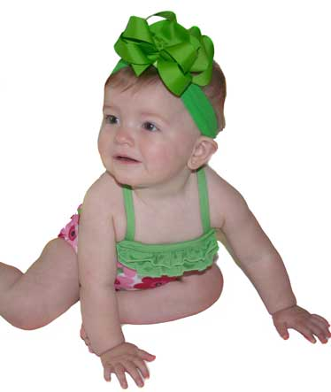 Apple Green Boutique Bow Headband Infant Toddler Hairbow