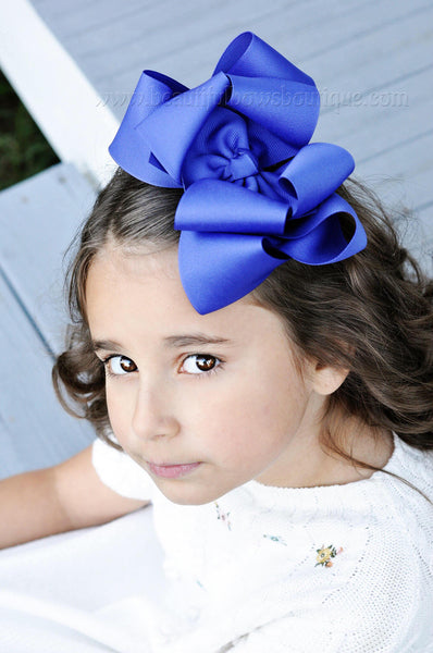 Extra Large Royal Blue Hair Bow, Royal Blue Hair Bow Texas Size