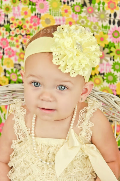 Light Yellow Lacie Rose Flower Clip or Headband