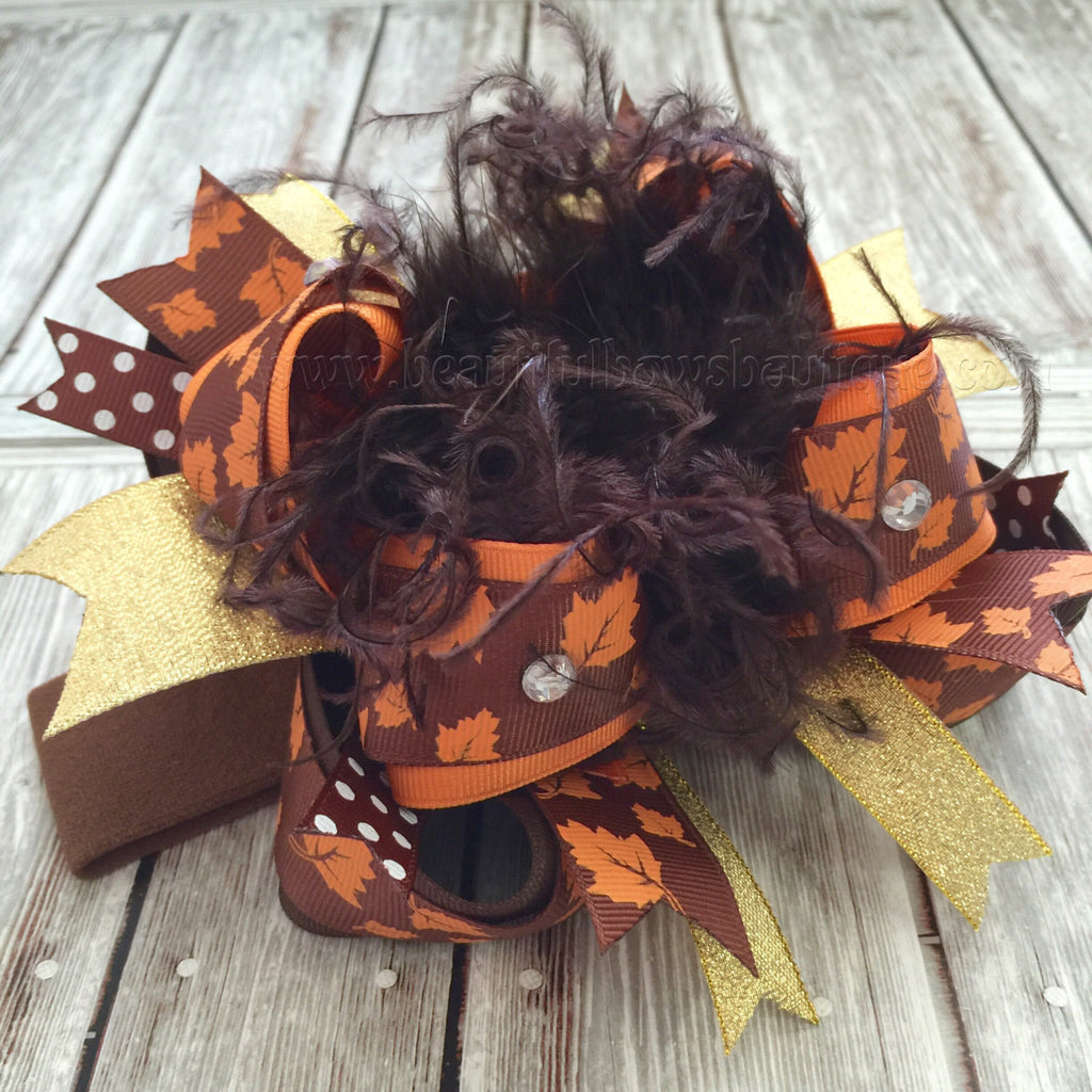 Big Leaves Brown Orange Fall Over The Top Hair Bow or Headband for Babies