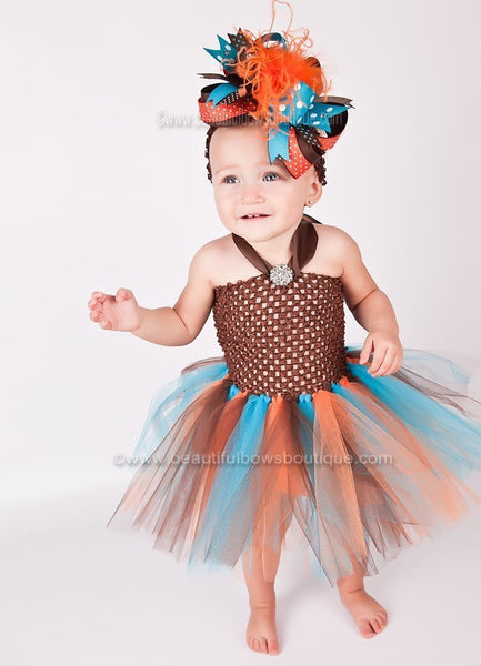 Buy Big Turquoise Brown Orange Over the Top Fall Hair Bow Clip or Headband Online