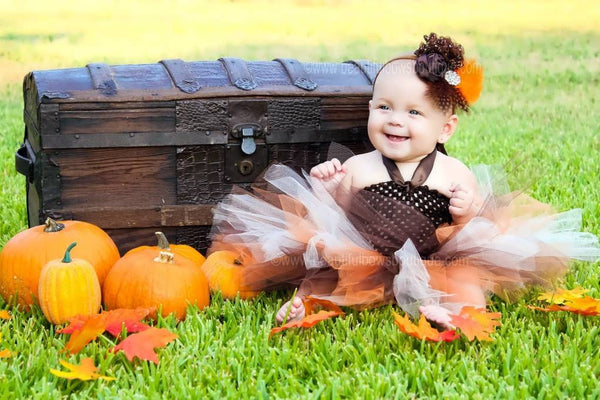 Orange Brown Baby Fall Feather Vintage Headband for Girls