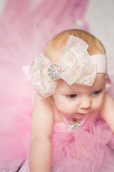 Buy Fancy Double Floral Sheer Girls Hair Bow Clip or Baby Headband Online