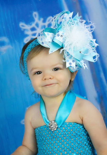 Buy Blue and White Snowflake Baby Hair Bow Headband Online