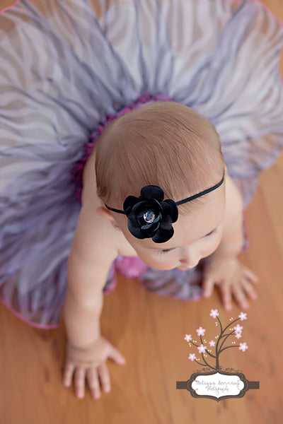 Black Della Bitty Flower Headband