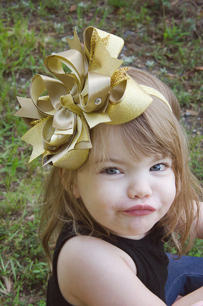 Buy Fancy Large Metallic Gold Girls Hair Bow, Gold Baby Headband New Years Online