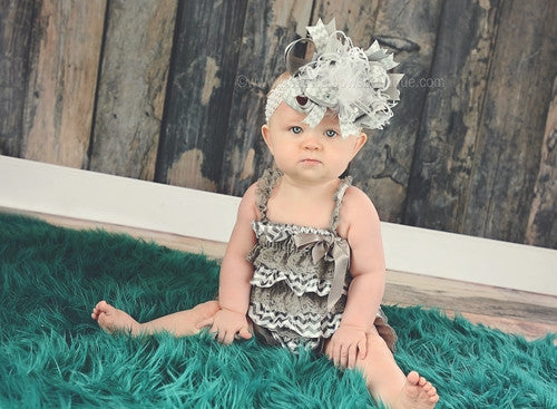 Big Boutique Light Grey and White Chevron Over the Top Hair Bow or Baby Headband