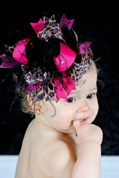 Big Over the Top Shocking Hot Pink Leopard Hair Bow Clip or Headband