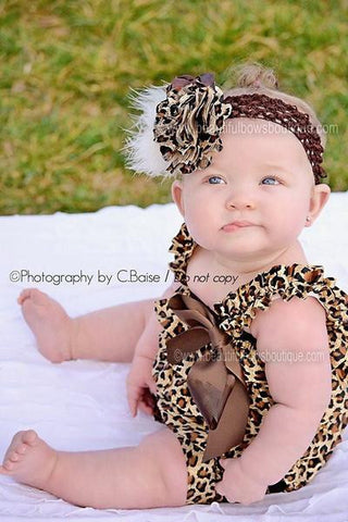 Leopard Ruffled Lace Romper for Babies and Toddler Girls