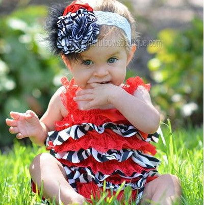 Buy Red and Black Zebra Baby Satin Petti Romper Online