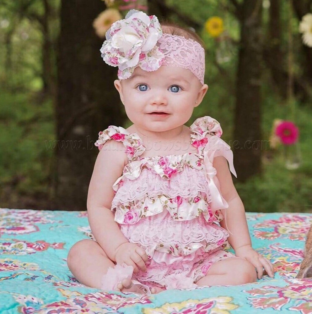 2482bc89032 Buy Girls Ivory Floral Baby Romper Online at Beautiful Bows Boutique