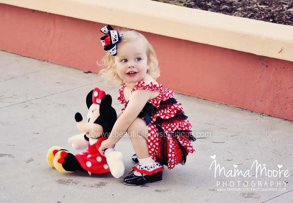 Girls Red and Black Polka Dot Baby Romper