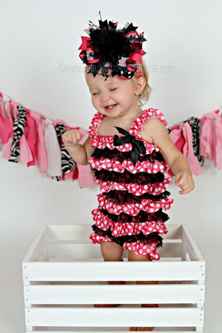 Baby Girl Black and Hot Pink Polka Dot Lace Satin Baby Romper