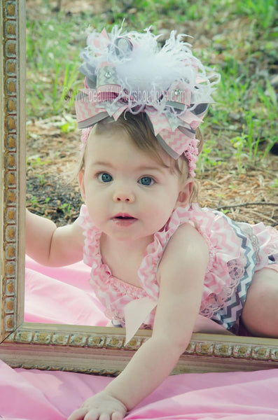 Buy Girls Light Pink and Grey Chevron Lace Satin Baby Romper Online