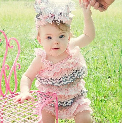 5c9d9baad Buy Girls Light Pink and Grey Chevron Lace Satin Baby Romper Online ...