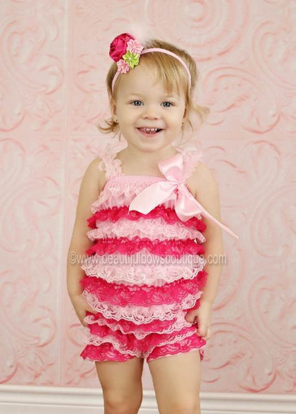 Girls Shocking Pink and Light Pink Lace Baby Romper