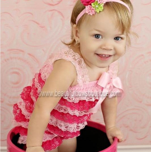 Buy Girls Shocking Pink and Light Pink Lace Baby Romper Online