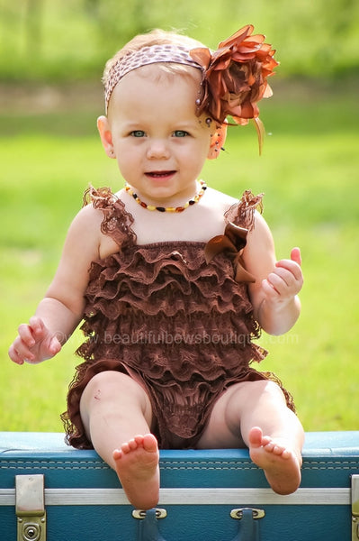 Girls Brown Baby Lace Romper, Chocolate Petti Romper