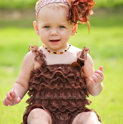 Buy Girls Brown Baby Lace Romper Online