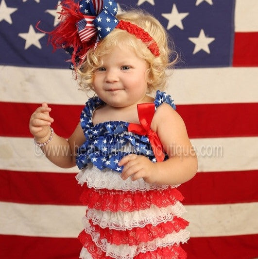 Patriotic Flag Holiday Satin Red White and Blue Ruffled Baby Romper