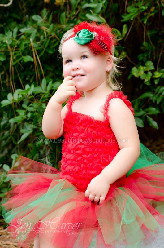 Girls Emerald Green and Red Christmas Tutu Skirt