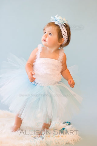 Buy Girls White and Light Baby Blue Tulle Skirt Online