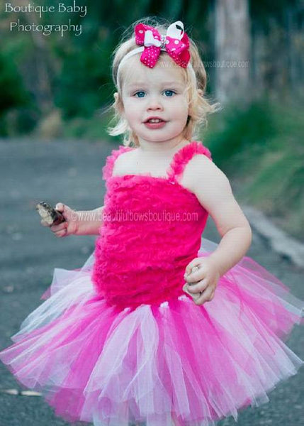 Shocking Hot Pink and White Infant Toddler Tutu