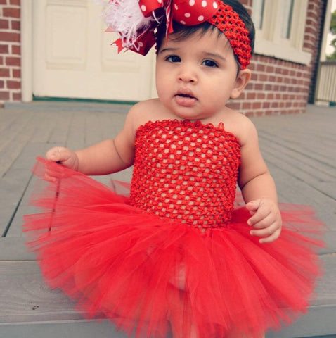 Holiday Solid Red Tutu Dress for Babies Toddlers