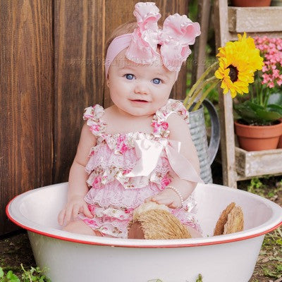 Buy Large Pink Ruffle Hair Bow Baby Girl Headband Online
