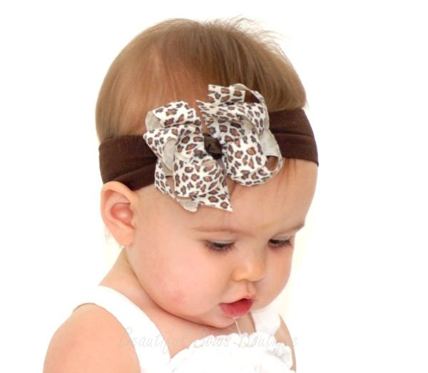 Dainty Leopard Cream Girls Hair Bow Clip or Headband