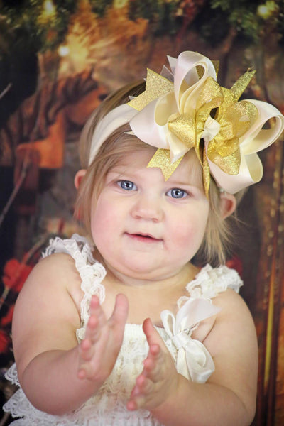 Large Ivory and Metallic Gold Sparkle Girls Hair Bow Clip or Headband