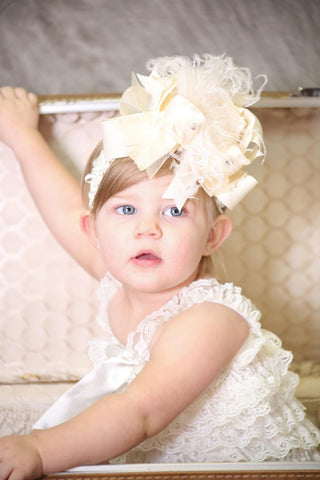 Buy Big Boutique Solid Ivory Girls Over the Top Hair Bow Headband Online