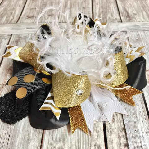 Black and Gold Over the Top Hair Bow