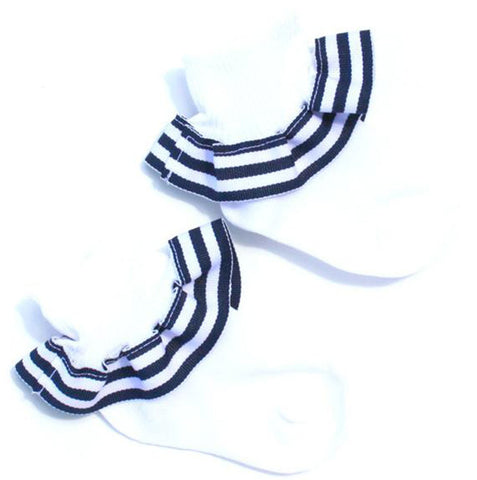 Navy White Stripe Ribbon Ruffle Socks