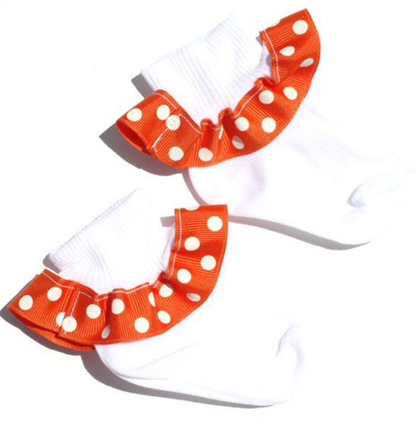Orange and White Polka Dot Ribbon Ruffle Socks